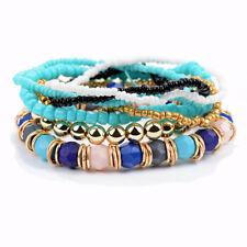 Wickelarmband NEU Strass Damen Blau Weiss Türkis Gold Perlen Elastisch Shamballa