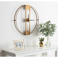 Wall Clock Modern Mid Century Living Large Metal Minimalist Gold Home Decor 24""