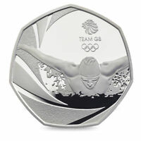 2016 50P COIN TEAM GB RIO OLYMPIC SWIM RARE FIFTY PENCE UNCIRCULATED SWIMMING @