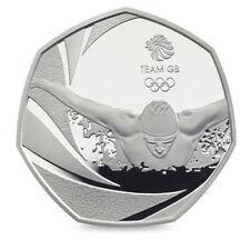 Equipo de moneda de 2016 50P GB Rio olímpico Swim Raro cincuenta peniques Uncirculated natación!