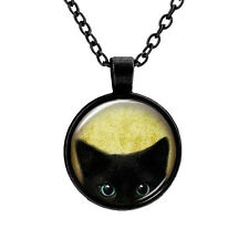 VINTAGE GLASS CABOCHON BLACK CAT KITTEN PENDANT ON CHAIN BLUE EYED KITTY GIFT