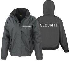 Unisex SECURITY Winter Parka Jacke mit Kapuze Gr.S-3XL schwarz gefüttert R207