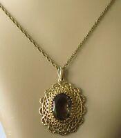9ct Gold Necklace - 9ct Yellow Gold Smoky Quartz Pendant & Chain