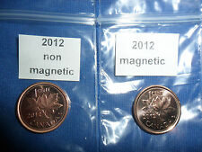 2012 Canadian Penny 1 Magnetic &1 non magnetic (CCUU)(LAST YEAR)