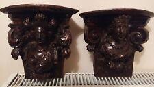 Paire consoles d'applique bois sculpté têtes indiens americains xviiie siècle
