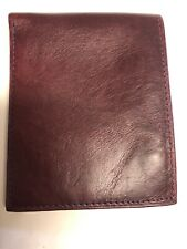 Brooks Brothers Mens Burgundy Genuine Leather 2 In 1 Bifold Wallet & ID Card