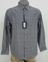 Hart Schaffner Marx Grey 100% Cotton Button Up L/S Men's Shirt L NWT $98.50