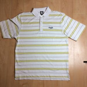 Footjoy Golf Polo Shirt Men Large Council Fire Golf Course Short Sleeve Striped
