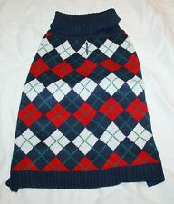 """New listing Blueberry Pet Navy Blue Red Argyle Dog Sweater - 12"""" or 16"""""""
