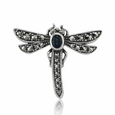 925 Silver Marcasite & Sapphire Dragonfly Brooch
