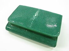 PELGIO Genuine Polished Stingray Skin Leather Trifold Clutch Wallet Purse Green
