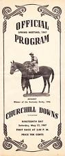 RARE VINTAGE HORSE 1947 CHURCHILL DOWNS  RACETRACK PROGRAM