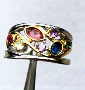 Exzellent gearbeiteter Silber Ring 925 mit 7 Edelsteinen -Gr. 56 / 17,8 mm