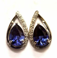 10k White gold .10ct VS H diamond created sapphire earrings 3.1g estate vintage