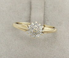 9CT YELLOW GOLD DIAMOND CLUSTER RING SIZE P (US 7 1/2),ENGAGEMENT,BRITISH,FINE