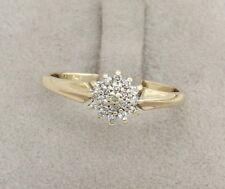 9CT YELLOW GOLD DIAMOND CLUSTER RING SIZE P (US 7 1/2),ENGAGEMENT,BRITISH,FINE