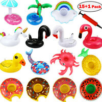15Pcs Inflatable Floating Drink Can Cup Holder Hot Tub Swimming Pool Beach FT