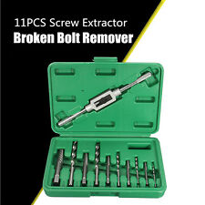 11pc Screw Extractor Drill Guide Removal Broken Bolts Fastners Easy Out Set
