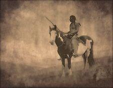 Native American, paint horse,  Canvas Art, antique wall decor, photo, 24x18