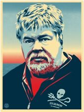 Shepard Fairey Obey Giant PAUL WATSON Signed #'d Screen Print Whale Wars RARE