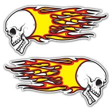 Skull Flames Large Laminated Stickers 200mm Motorcycle Car Bobber Hot Rod Decal