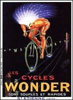 Cycles Wonder 1923 French Bicycle Advertising Vintage Poster Print Man On A Wire