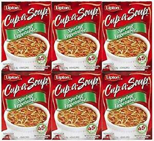 Lipton Cup-A-Soup Spring Vegetable, (1.9oz) 4 Bags (Pack Of 6)