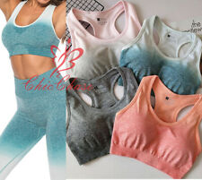 UK Womens Ombre Seamless Sports Bra Top Gym Activewear Yoga Training Fitness