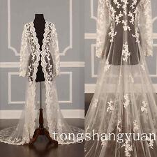 Custom Plus Size Lace Bridal Wedding Jackets Bolero Cape Wraps Shrug Long Sleeve
