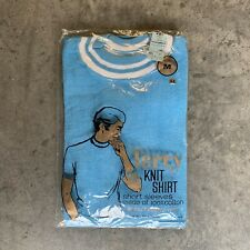 Vintage 60s 70s Terry Cloth Knit Shirt M Blue Short Sleeve NOS