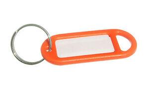 Nuovo Portachiavi Etichetta 50MM X 20MM con Inserto & Split Arancione (Pacco 20