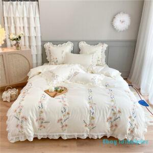 Lace Pastorale 80Long-staple Cotton Bedding Set Duvet Cover 4pcs Seed Embroidery