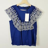 ZARA  | Womens Embroidered Blouse Top NEW + TAGS [ Size S or AU 10 / US 6 ]