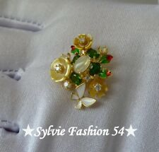 Superbe Pendentif Argent 925 or Fleur feuille émail Nacre Opale Diopside
