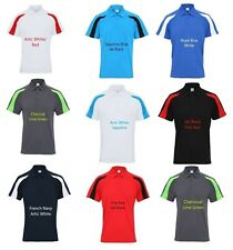 Mens Personalised Contrast Polo Shirt Custom Printed Workout Team Sports JC043