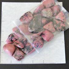 """RHODONITE Pakistan lg-xlg tumbled 1 lb bulk stones pink 1 1/8-1 7/8""""  21 pk"""