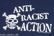ANTI-RACIST ACTION T-shirt Skull Crossbones Fight Racism Tee Adult MEDIUM New