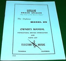 SERVICE & OWNERS MANUAL for LESLIE Speaker 25 Orpheus + 1962 Dealers' Price List