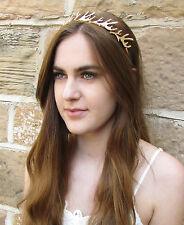 Gold Antler Headband Vintage Game of Thrones Woodland Bridal Medieval Hair Q44