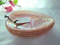 4x AKCAM Easter Iridescent Opal Pearl Pink Glass Appetizer Dessert Cake Plates