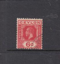 "CEYLON: 1912-25 KGV 6¢ Pale Scarlet ""WATERMARK SIDEWAYS"" SG 305a £100, fine used"