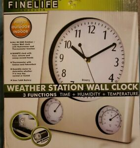 Weather Station Wall Clock - Indoor Temperature Humidty Display Silver