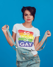 50 SHADES OF GAY Gay Pride T Shirt Rainbow Tshirt Lesbian LGBT