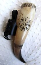 Vegvisir Engraved Viking Drinking Horn with leather holder wedding birthday gift