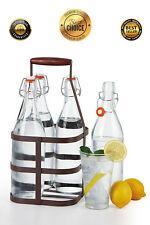 32 oz EZ Cap Vintage Clear Home Brewing Beer Oil Glass Bottles, Case of 4 +CADDY