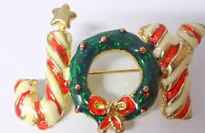 Vintage 60s Enamel Christmas Candy Cane Jewelry JOY Wreath Bow Pin Brooch RARE