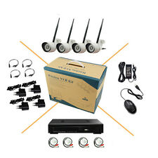 4CH Audio Wireless WIFI Camera System IP 1080P HD Outdoor IR Night Network CCTV