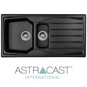 Astracast Sierra 1.5 Bowl Reversible Black Kitchen Sink With Basket Waste Kit