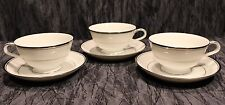 3 Zylstra Silver Ecstasy Tea Cups and Saucers Select Fine China (Made In Japan)