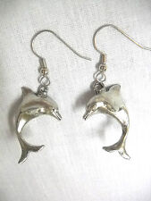 NEW NAUTICAL SEA FARING 3D DOLPHINS DANGLING FULL PENDANT SIZE PEWTER EARRINGS